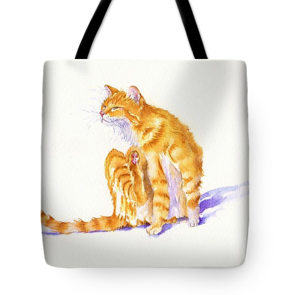 Tom Cat Tote Bag featuring the painting Flea Magnet by Debra Hall