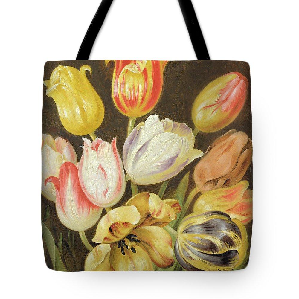 Blumenstuck Tote Bag featuring the painting Flower Study by Johann Friedrich August Tischbein