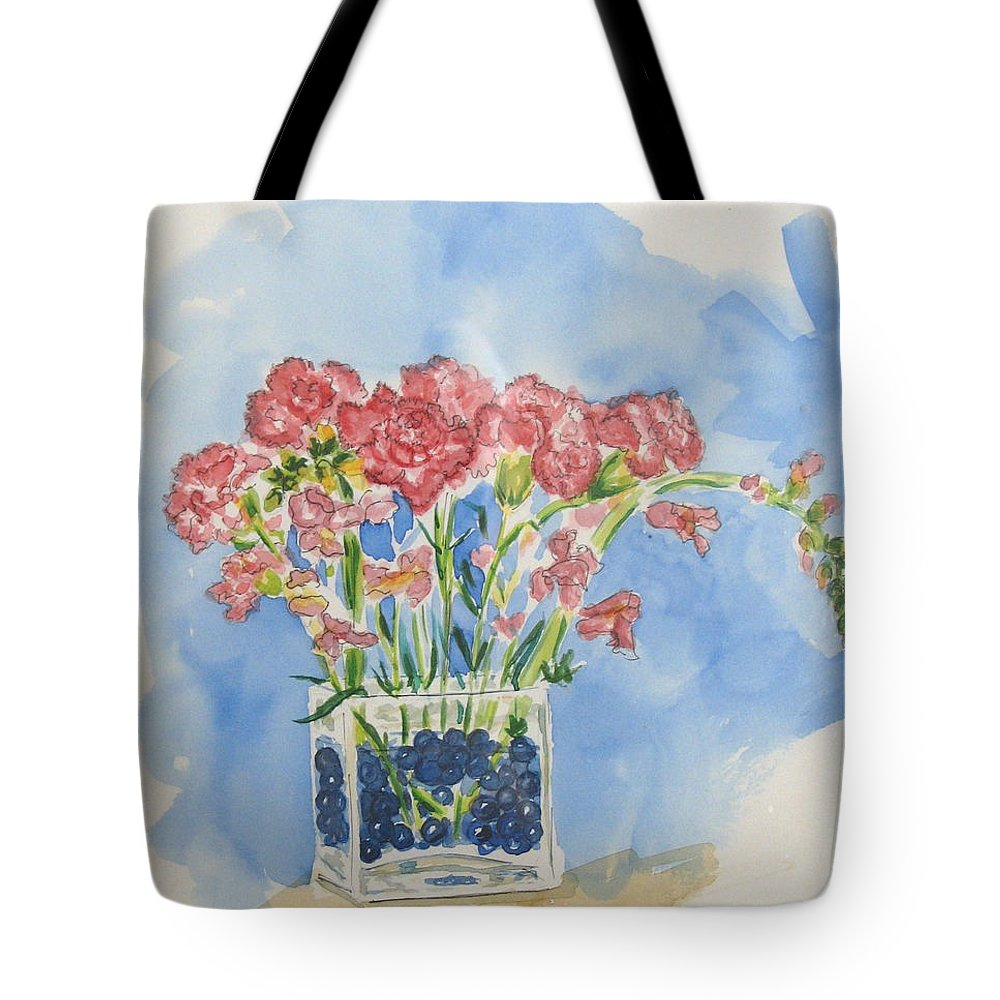 Flowers Tote Bag featuring the painting Flowers In A Vase by Mary Ellen Mueller Legault