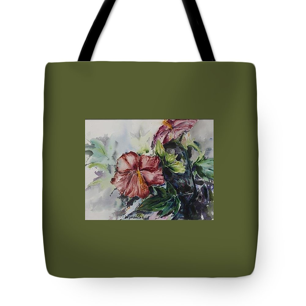 Flowers Tote Bag featuring the painting Flowers In My Backyard by Wipha Risser