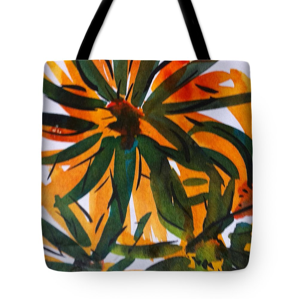 Flowers Tote Bag featuring the painting Flowers by Michelle Deyna-Hayward