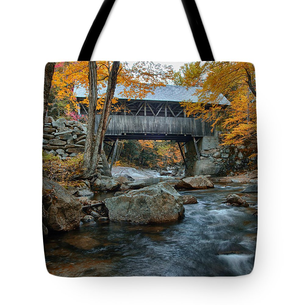 Autumn Foliage New England Tote Bag featuring the photograph Flume Gorge Covered Bridge by Jeff Folger