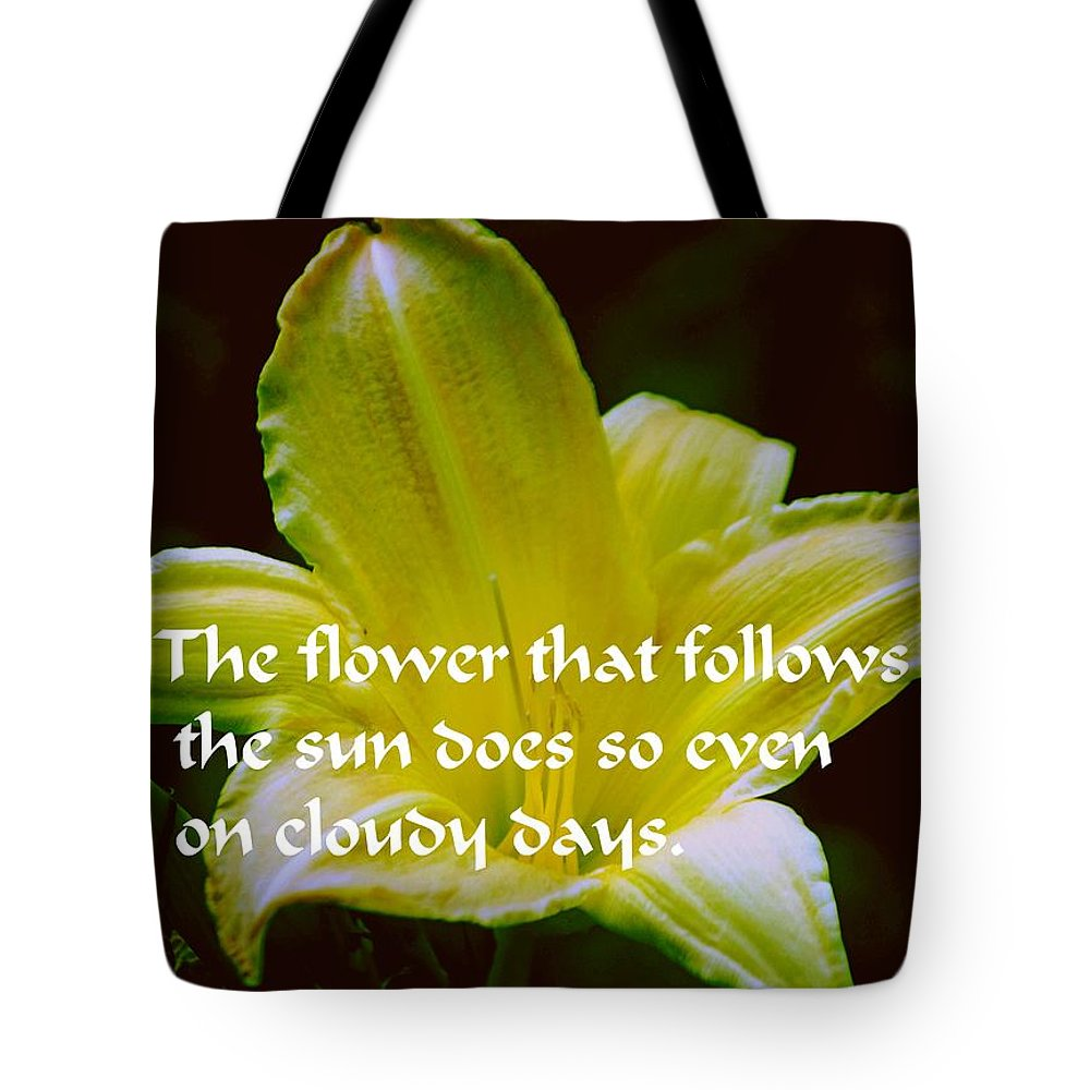 Yellow Tote Bag featuring the photograph Follow The Sun by Gary Wonning