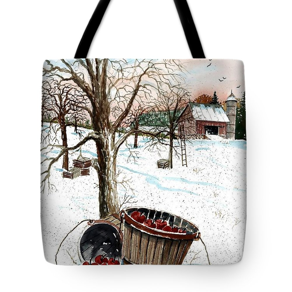 Forgotten Apples Tote Bag featuring the painting Forgotten Apples by Steven Schultz