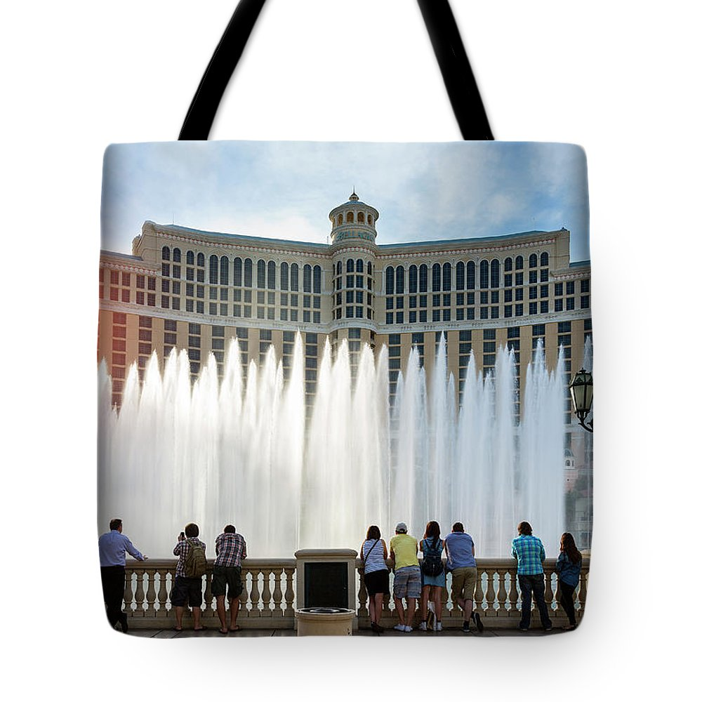 People Tote Bag featuring the photograph Fountains Of Bellagio, Bellagio Resort by Sylvain Sonnet