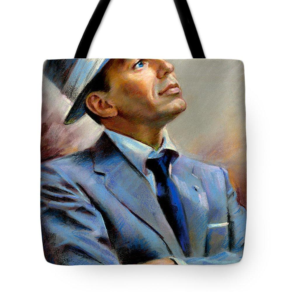 Francis frank Sinatra Tote Bag featuring the pastel Frank Sinatra by Ylli Haruni