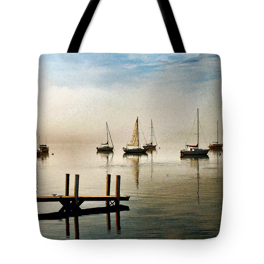 Frankfort Tote Bag featuring the photograph Frankfort Morning Mist by James Gordon Patterson