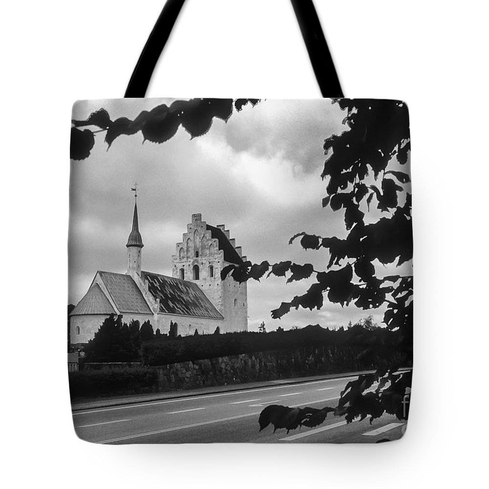 Froslev And Elswhere Denmark Danish Church Churches Building Buildings Structure Structures Steeple Steeples Place Places Of Worship Architecture Landscape Landscapes Black And White Tote Bag featuring the photograph Froslev And Elswhere 2 by Bob Phillips