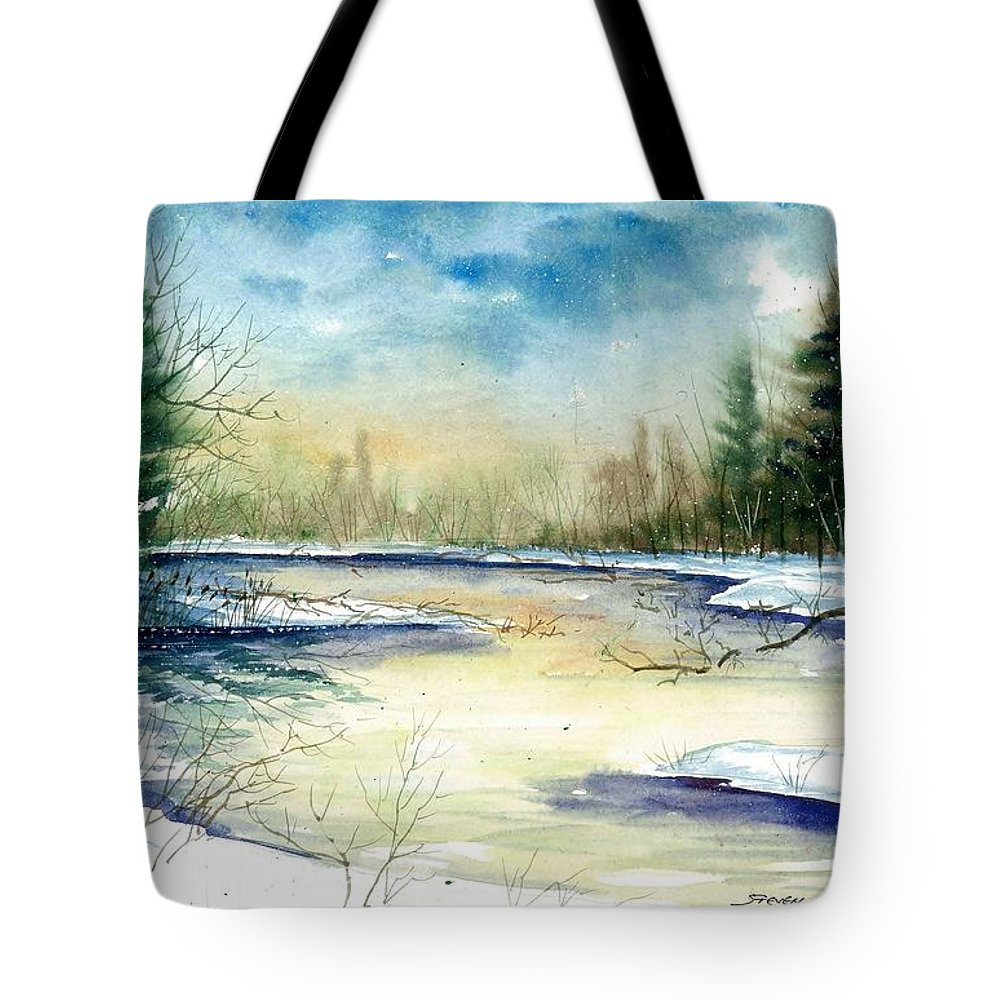 Landscape Tote Bag featuring the painting Frozen Creek by Steven Schultz