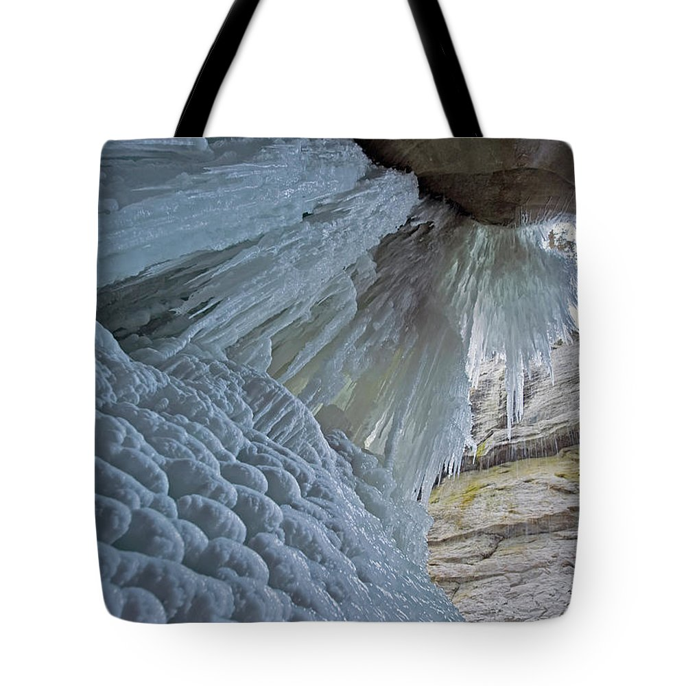 Unesco Tote Bag featuring the photograph Frozen Waterfall At Maligne Canyon by Jim Julien / Design Pics