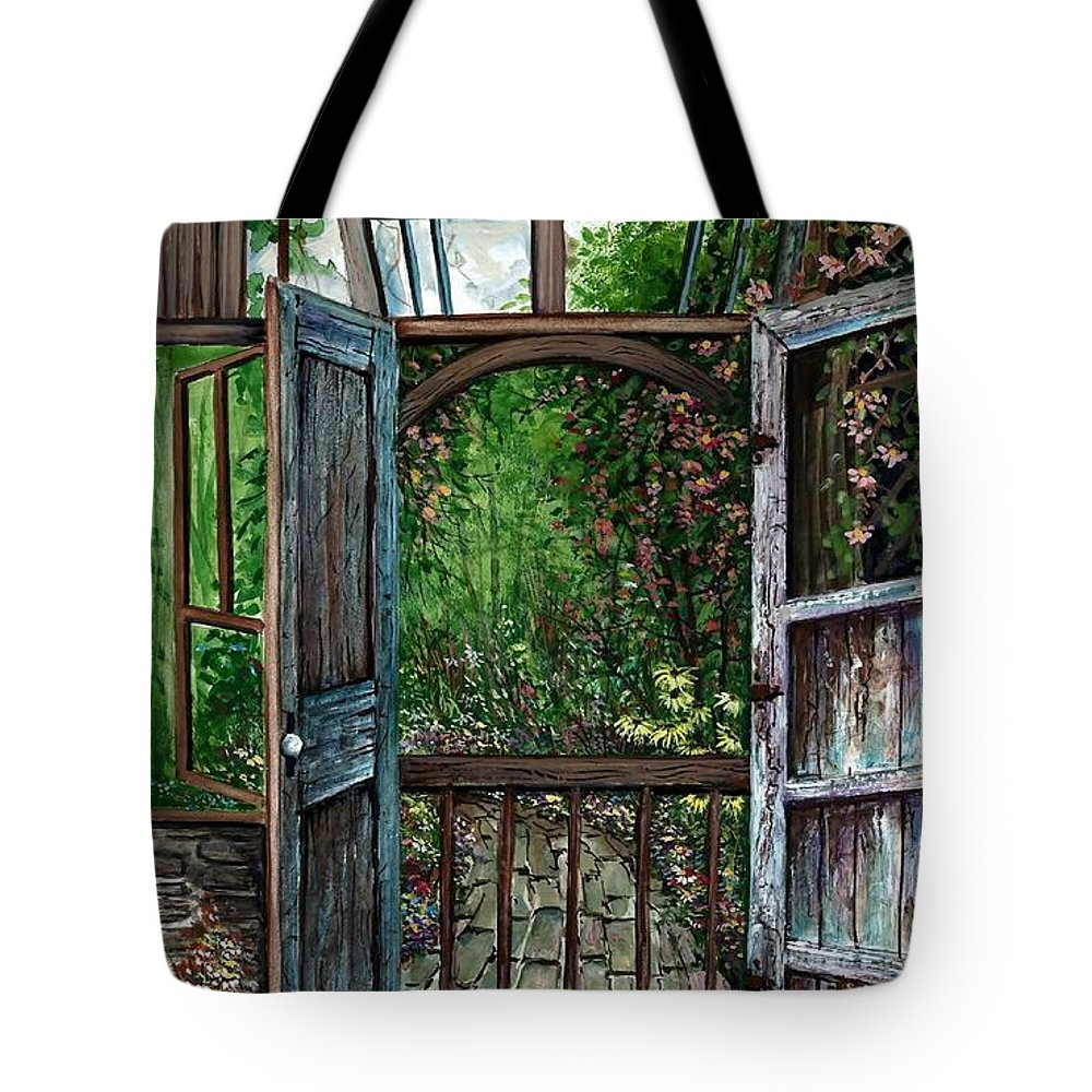 Garden Backyard Tote Bag featuring the painting Garden Backyard by Steven Schultz