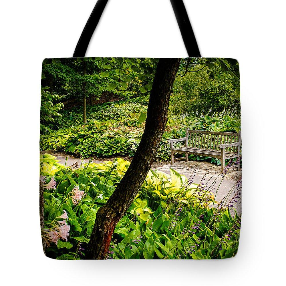 Minnesota Tote Bag featuring the photograph Garden Bench by Joe Mamer