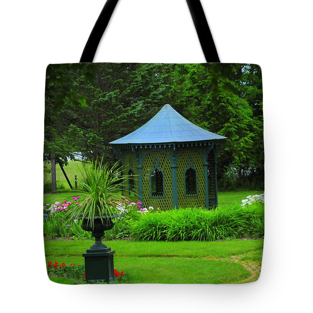 Gazebo Tote Bag featuring the photograph Gazebo In The Garden by Kathleen Struckle
