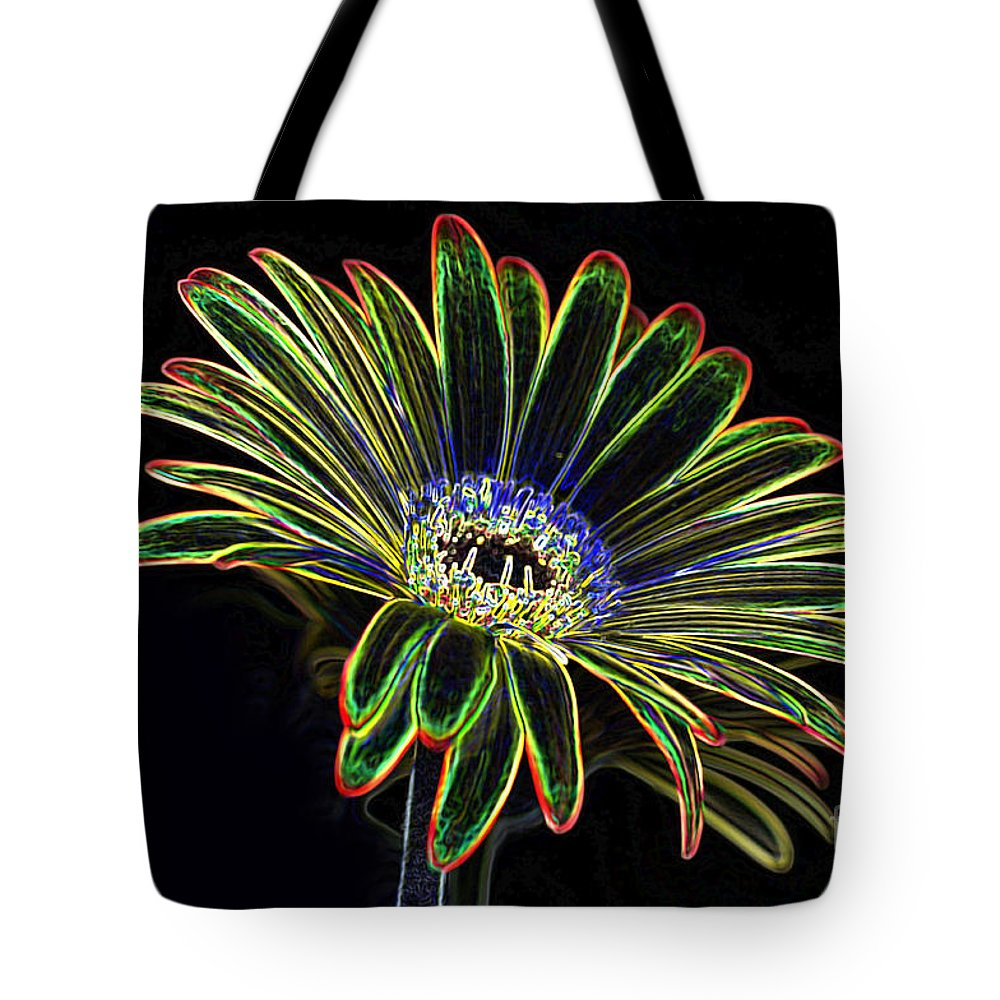 Yellow And Orange Gerbera Flower Tote Bag featuring the photograph Gerbera Glow 1 by Steve Purnell