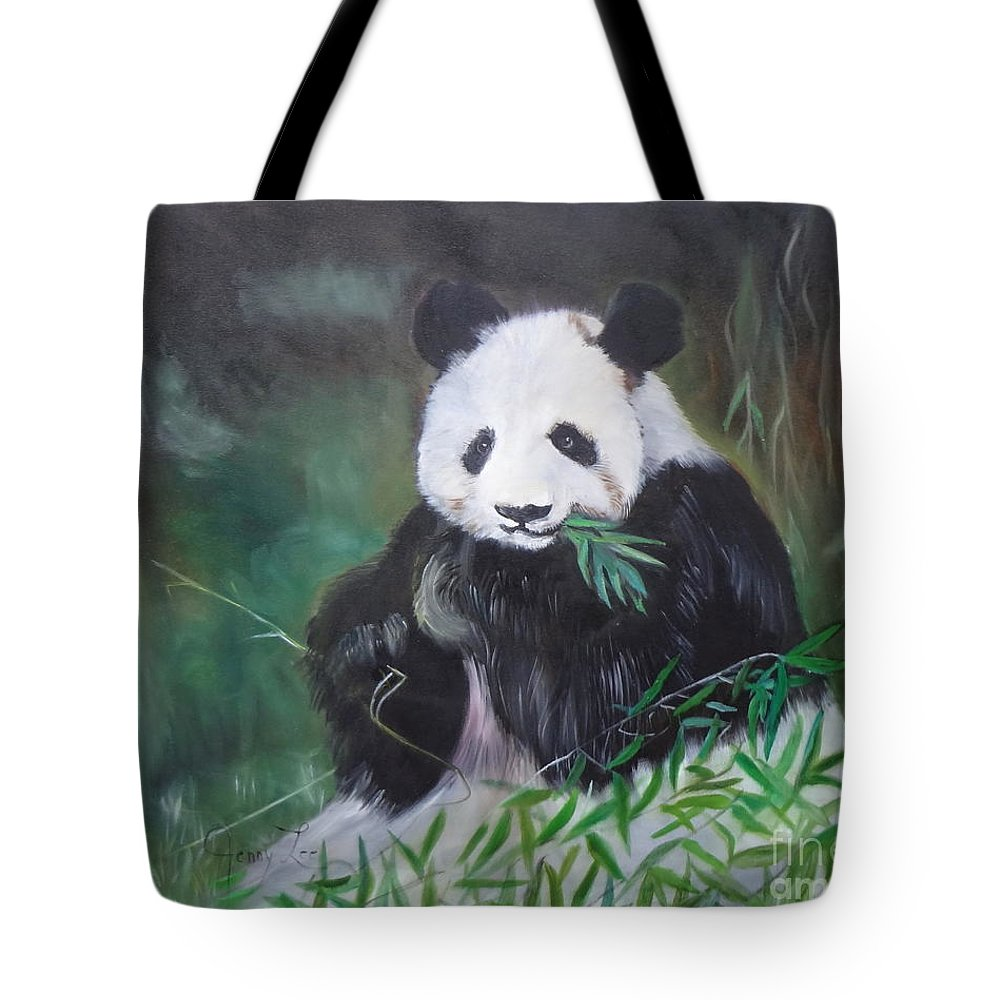 Giant Panda Canvas Print Tote Bag featuring the painting Giant Panda 1 by Jenny Lee