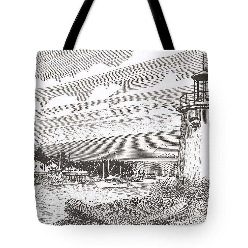 Lighthouse Art Tote Bag featuring the drawing Lighthouse Gig Harbor Entrance by Jack Pumphrey