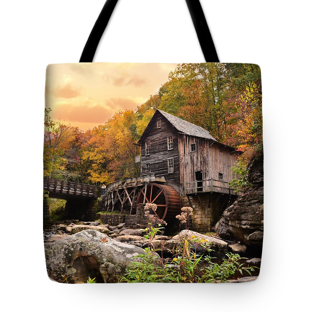 Glade Creek Grist Mill Tote Bag featuring the photograph Glade Creek Grist Mill by Lj Lambert