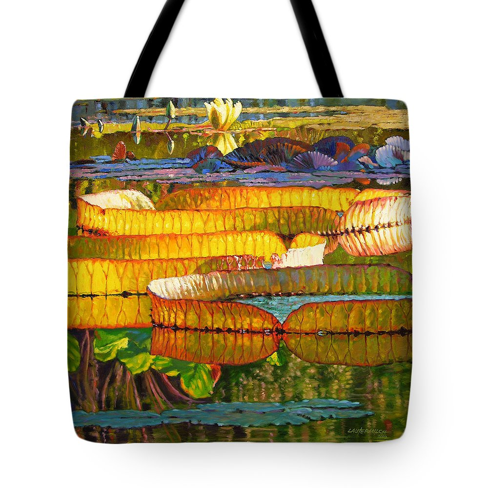 Water Lilies Tote Bag featuring the painting Glorious Morning Lilies by John Lautermilch