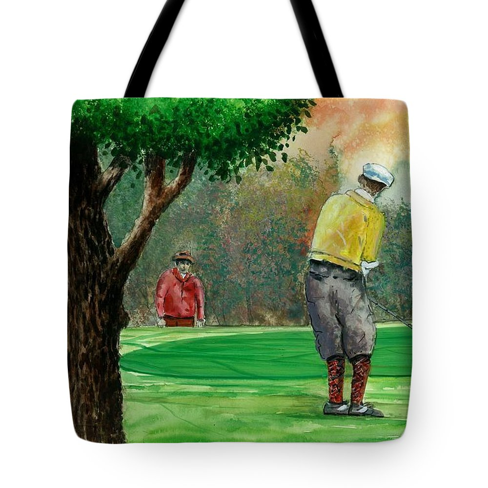 Golf Outing Tote Bag featuring the painting Golf Outing by Steven Schultz