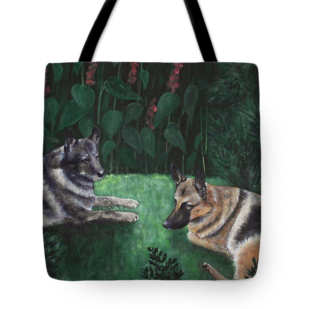Old Tote Bag featuring the painting Good Friends by Anastasiya Malakhova