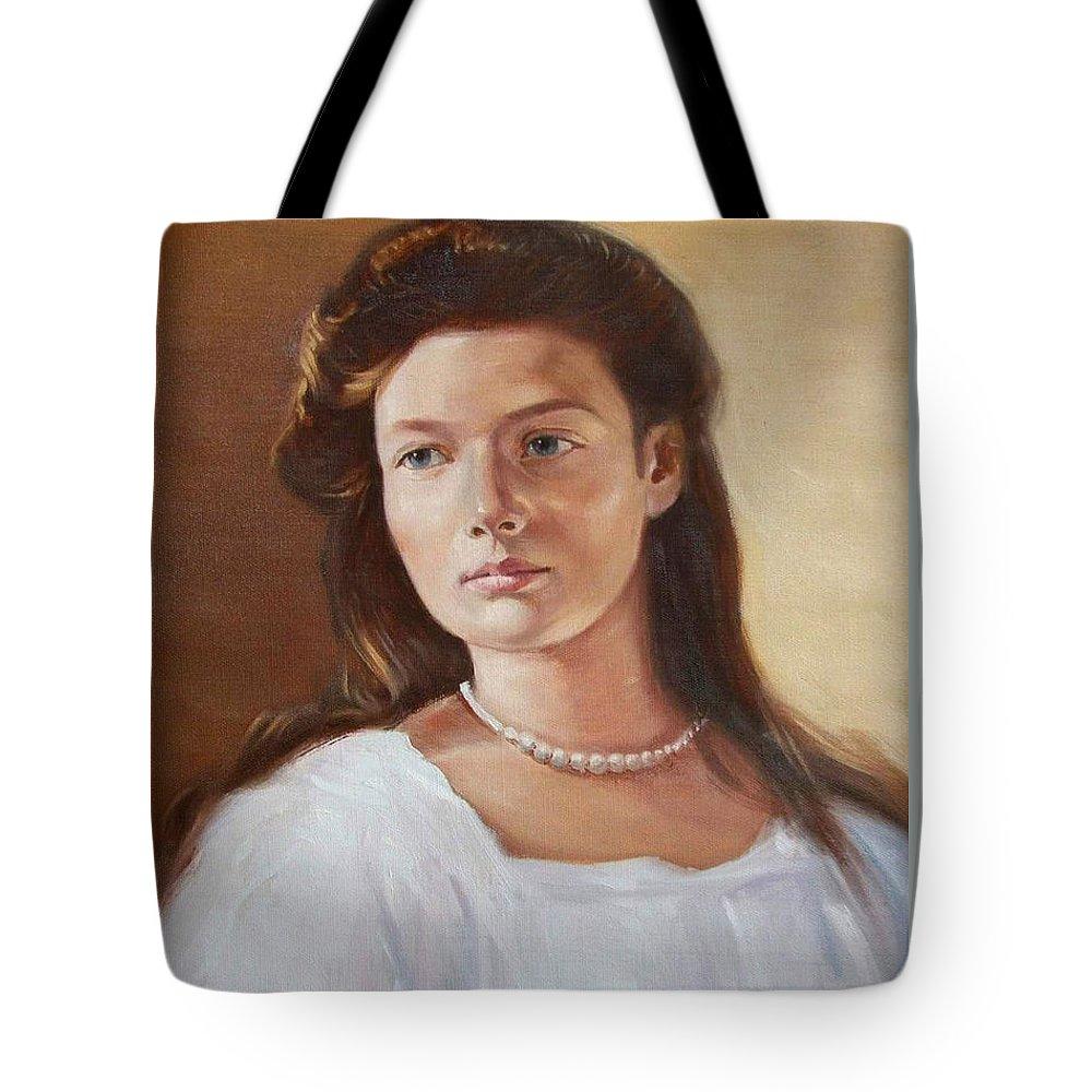 Grand Duchess Tatiana Nikolaevna Of Russia Tote Bag featuring the painting Grand Duchess Tatiana Nikolaevna Of Russia by George Alexander