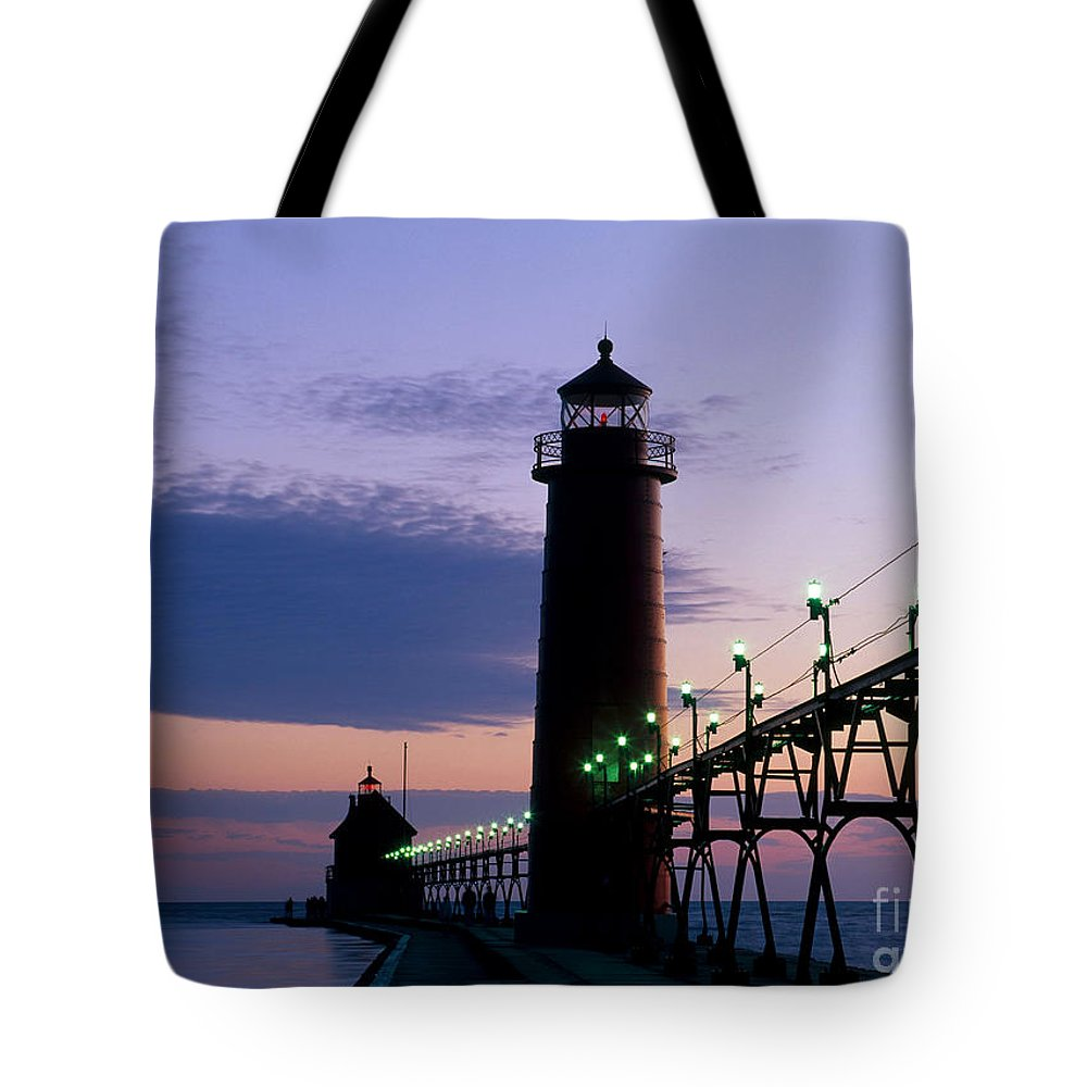 Lighthouse Tote Bag featuring the photograph Grand Haven Lighthouse by David Davis