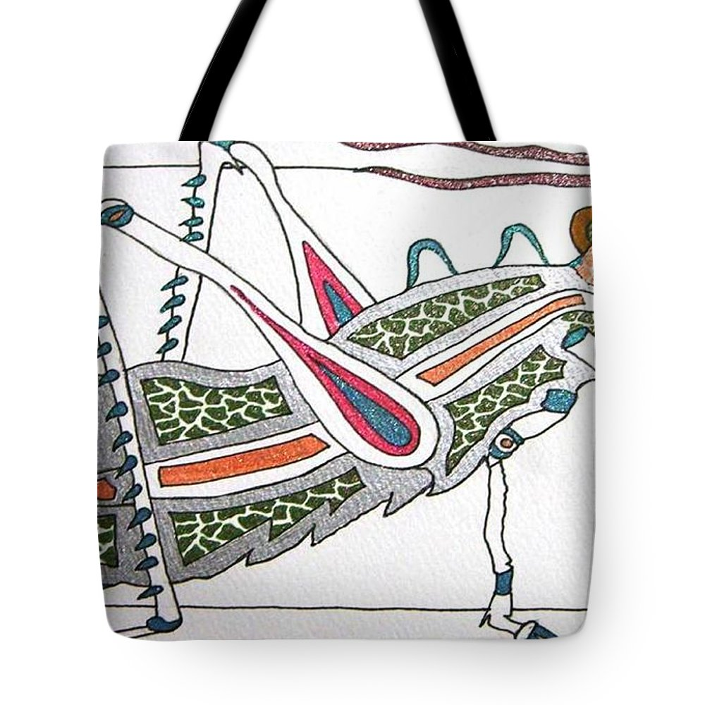 Grasshopper Tote Bag featuring the painting Grasshopper II by Kruti Shah