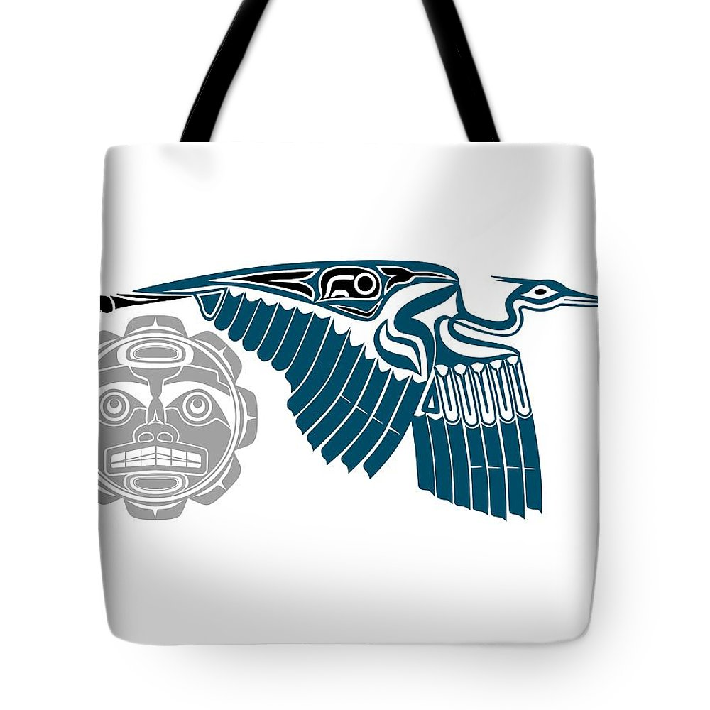 Heron Tote Bag featuring the drawing Great Blue Heron With Moon by Fred Croydon