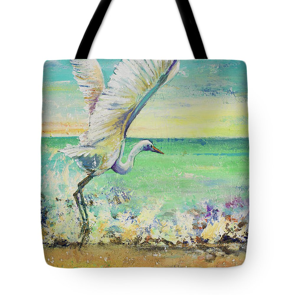 Great Tote Bag featuring the painting Great Egret I by Patricia Pinto