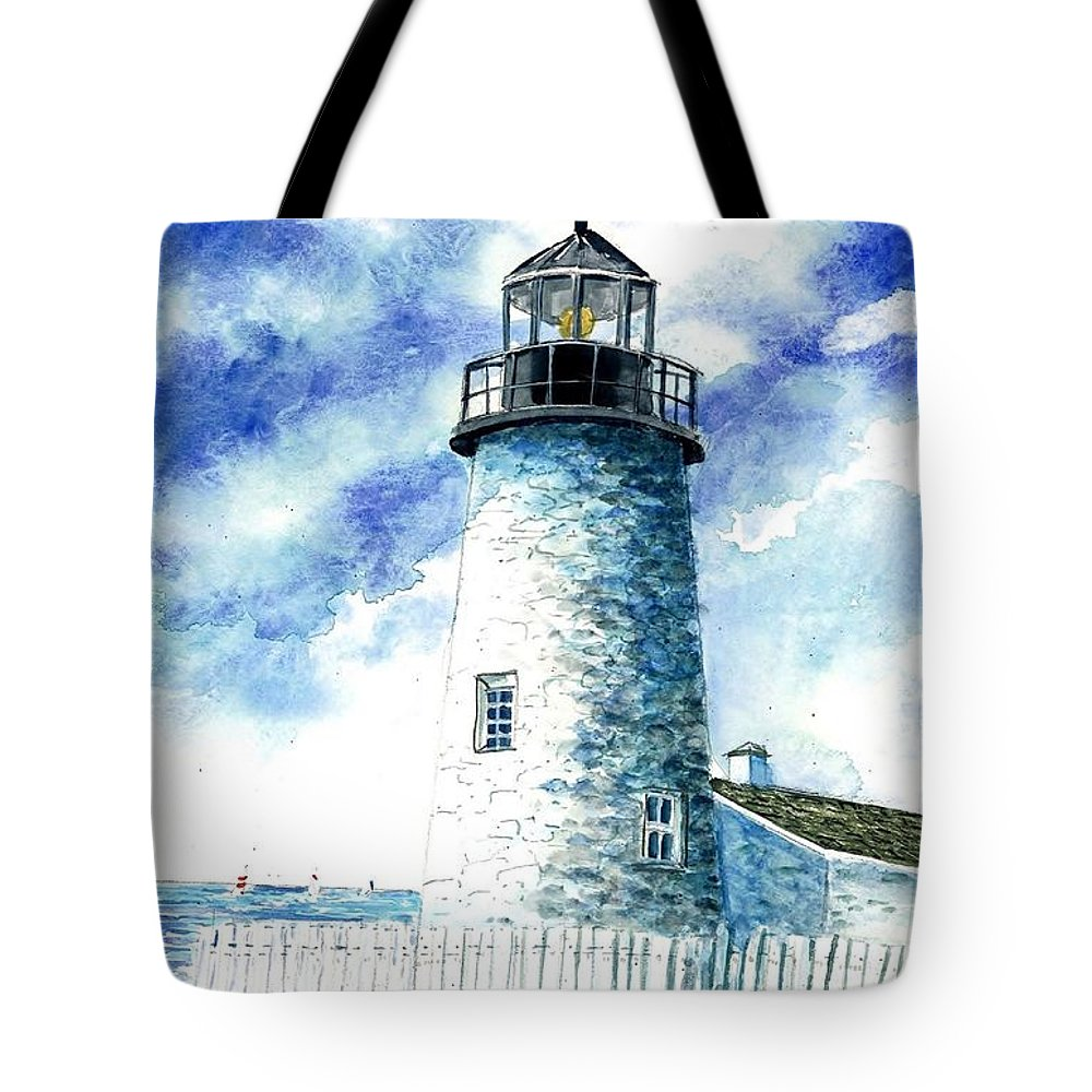 Great Lakes Lighthouse Tote Bag featuring the painting Great Lakes Light II by Steven Schultz