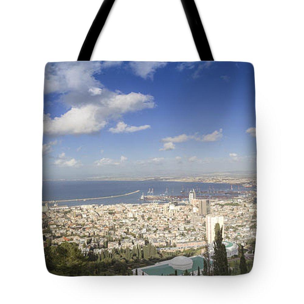 Haifa Tote Bag featuring the photograph Haifa Bay Panorama by Nir Ben-Yosef
