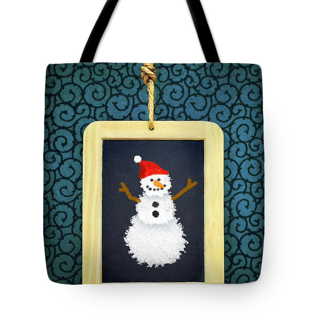 Snowman Tote Bag featuring the photograph Hanged Xmas Slate - Snowman by Carlos Caetano