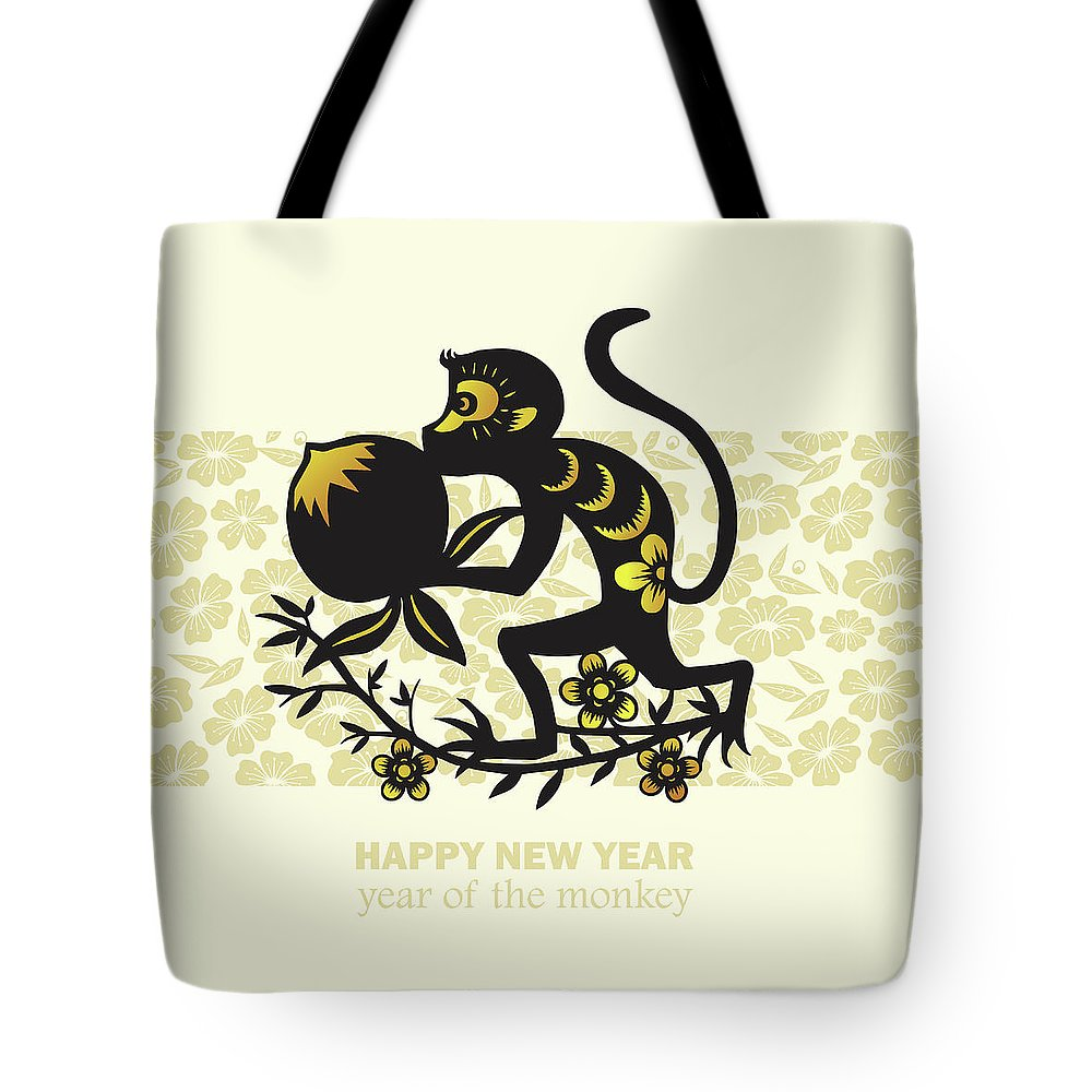 Chinese Culture Tote Bag featuring the digital art Happy New Year, Year Of The Monkey 2016 by Ly86
