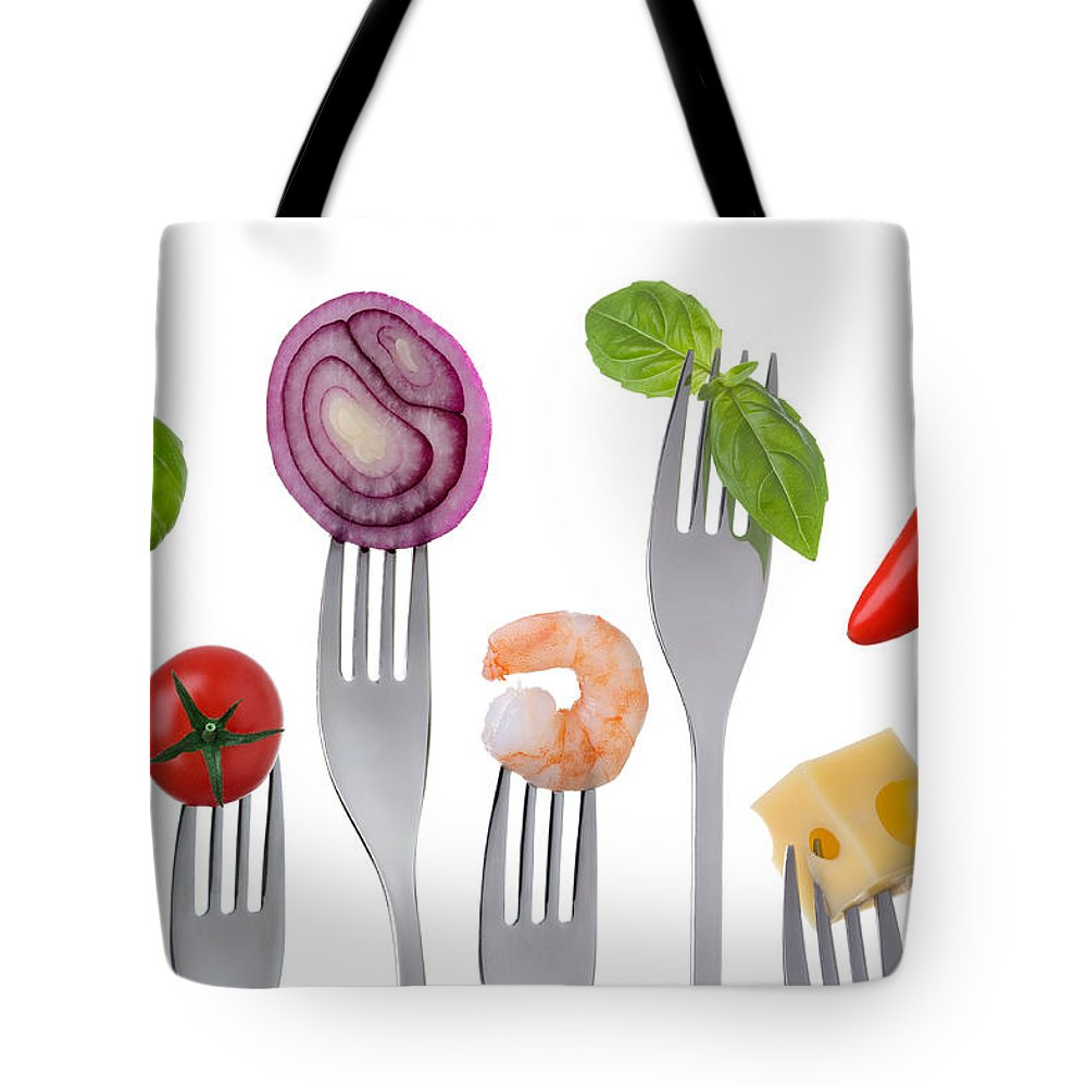 Balanced Diet Tote Bag featuring the photograph Healthy Balanced Food On White by Lee Avison