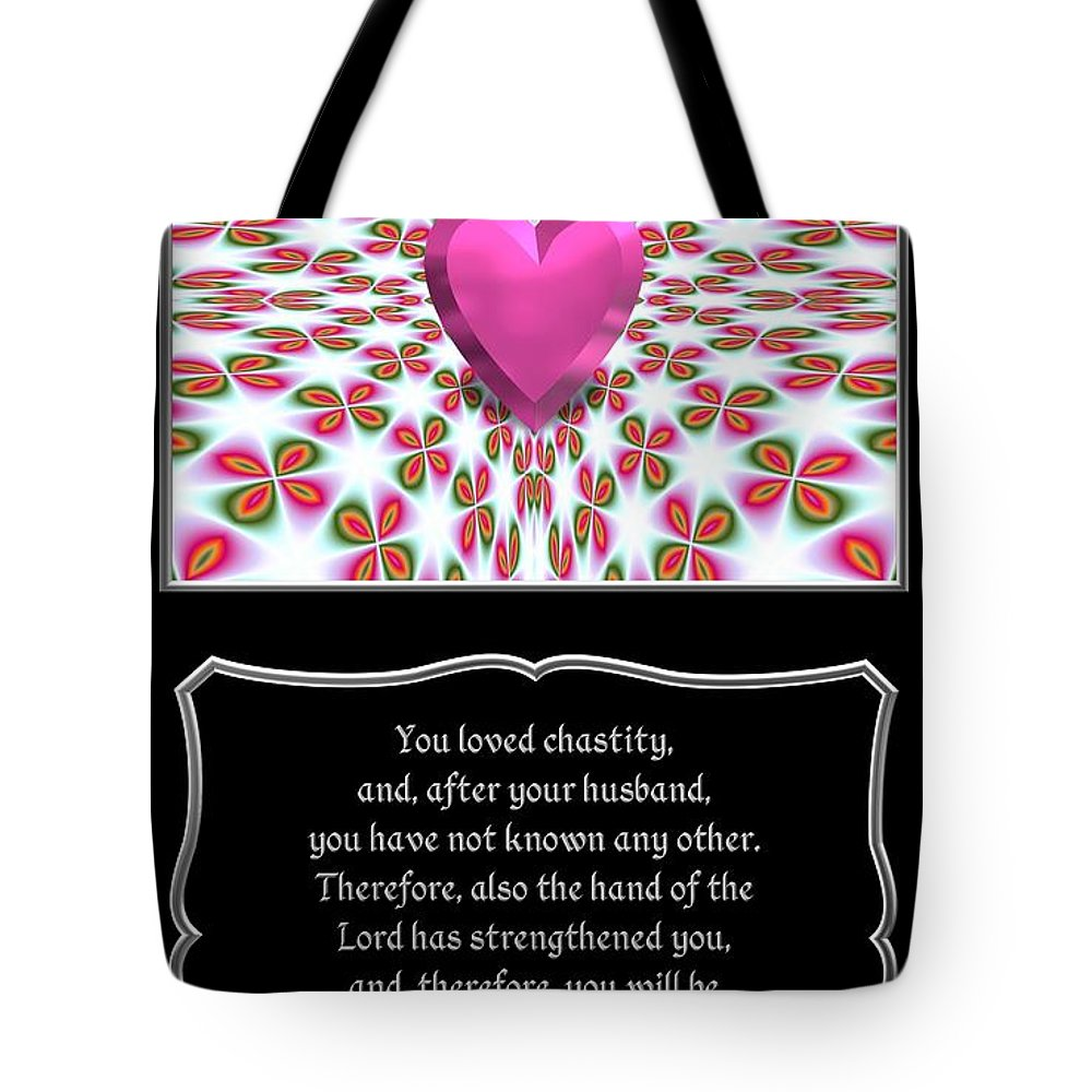 Judith 15: 11 Tote Bag featuring the digital art Heart And Love Design 16 With Bible Quote by Rose Santuci-Sofranko