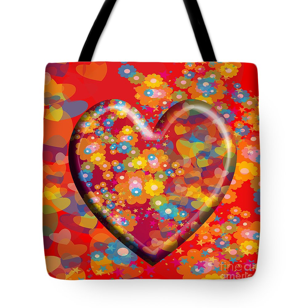Hearts Tote Bag featuring the painting Hearts And Flowers by Neil Finnemore