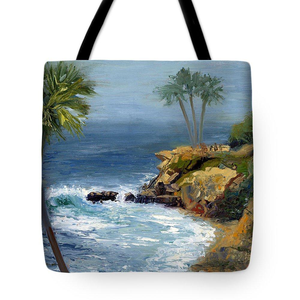 Laguna Beach Tote Bag featuring the painting Heisler Park by Alice Leggett