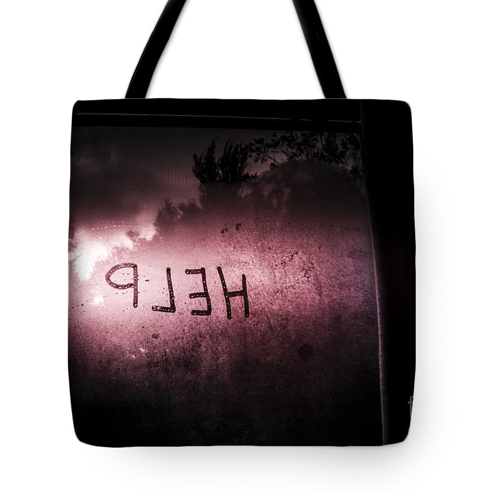 Fear Tote Bag featuring the photograph Help Written On A Misty Glass Window. No Escape by Jorgo Photography - Wall Art Gallery