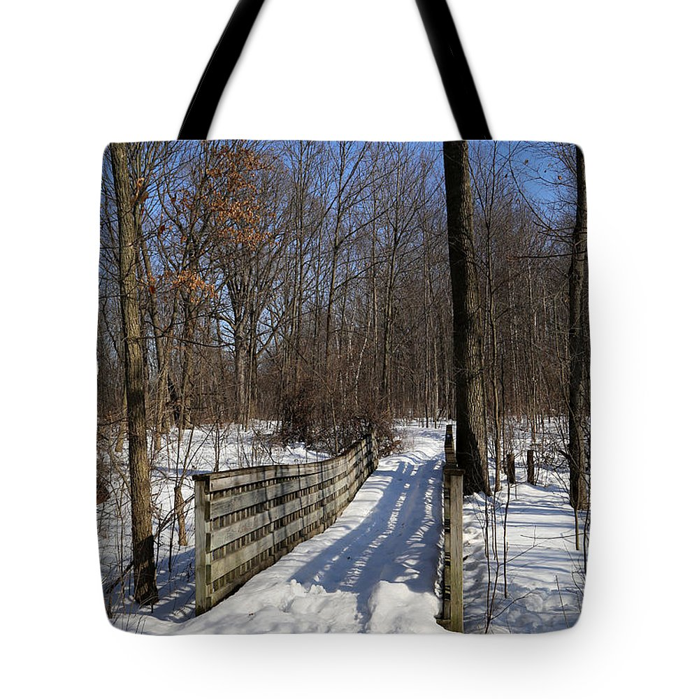 Trail Tote Bag featuring the photograph Hiking Trail Bridge With Shadows 3 by Mary Bedy