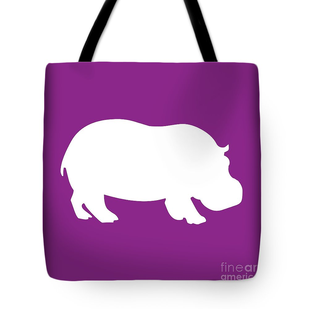 Graphic Art Tote Bag featuring the digital art Hippo In Purple And White by Jackie Farnsworth
