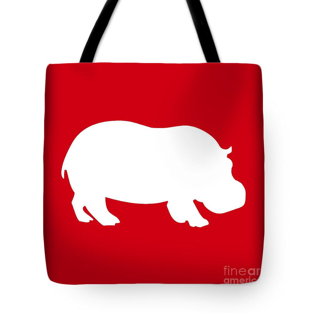 Graphic Art Tote Bag featuring the digital art Hippo In Red And White by Jackie Farnsworth