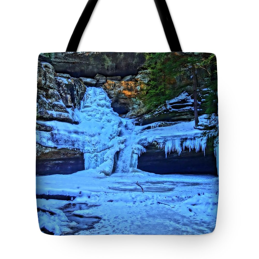 Hocking Hills State Park In Winter Tote Bag featuring the photograph Hocking Hills State Park In Winter by Dan Sproul