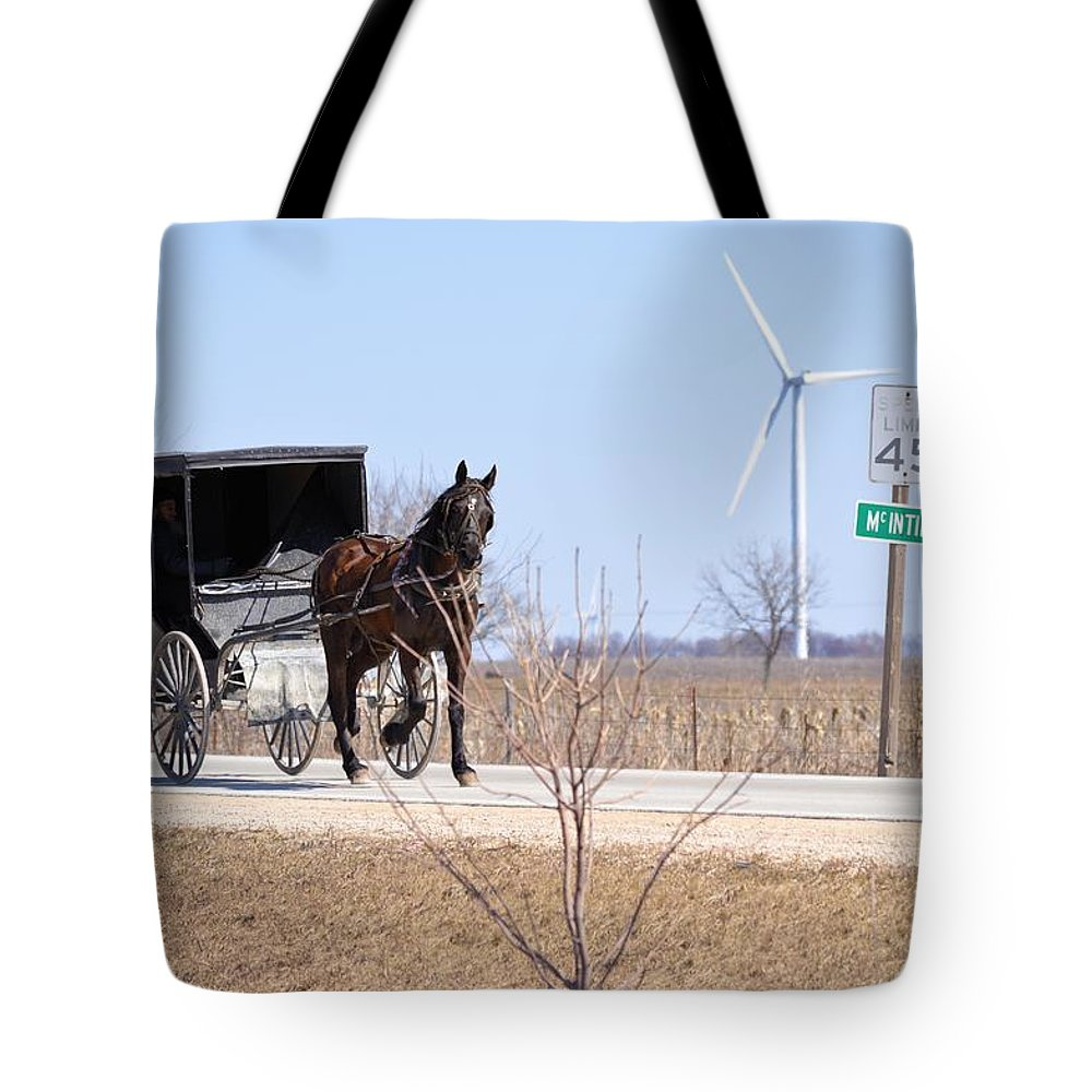 Amish Tote Bag featuring the photograph Horse And Buggy by Bonfire Photography