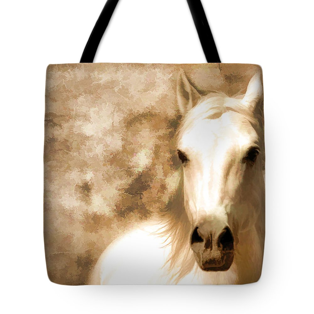 Horses Tote Bag featuring the photograph Horse Whisper by Athena Mckinzie