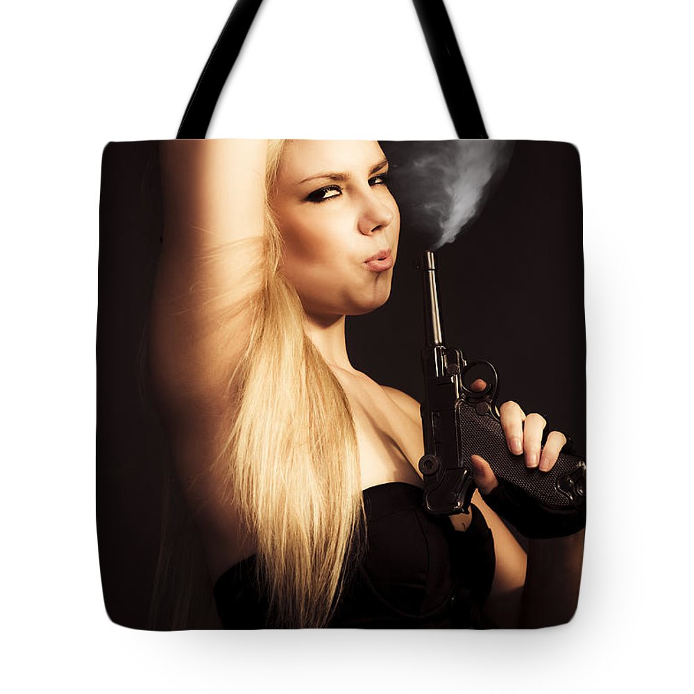 Agent Tote Bag featuring the photograph Hot Shot Woman by Jorgo Photography - Wall Art Gallery