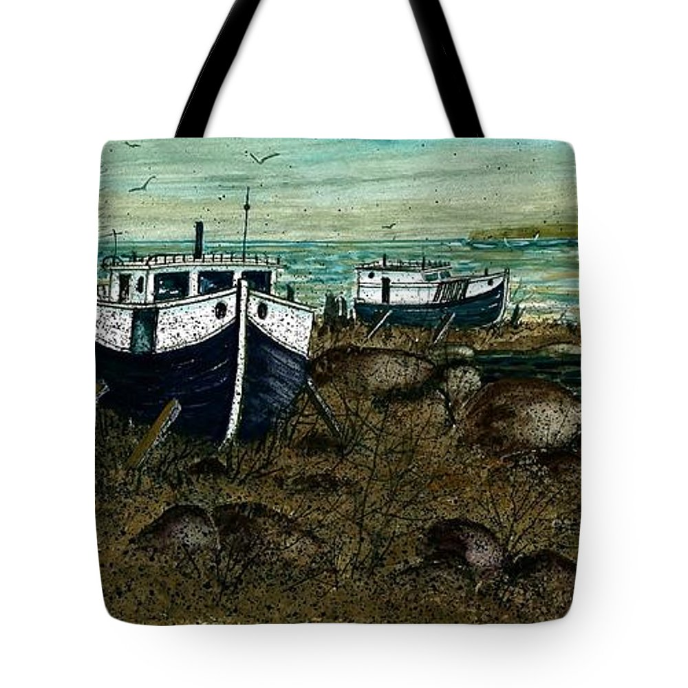 House Boats Tote Bag featuring the painting House Boats by Steven Schultz