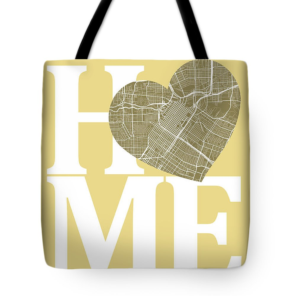 Road Map Tote Bag featuring the digital art Houston Street Map Home Heart - Houston Texas Road Map In A Hear by Jurq Studio