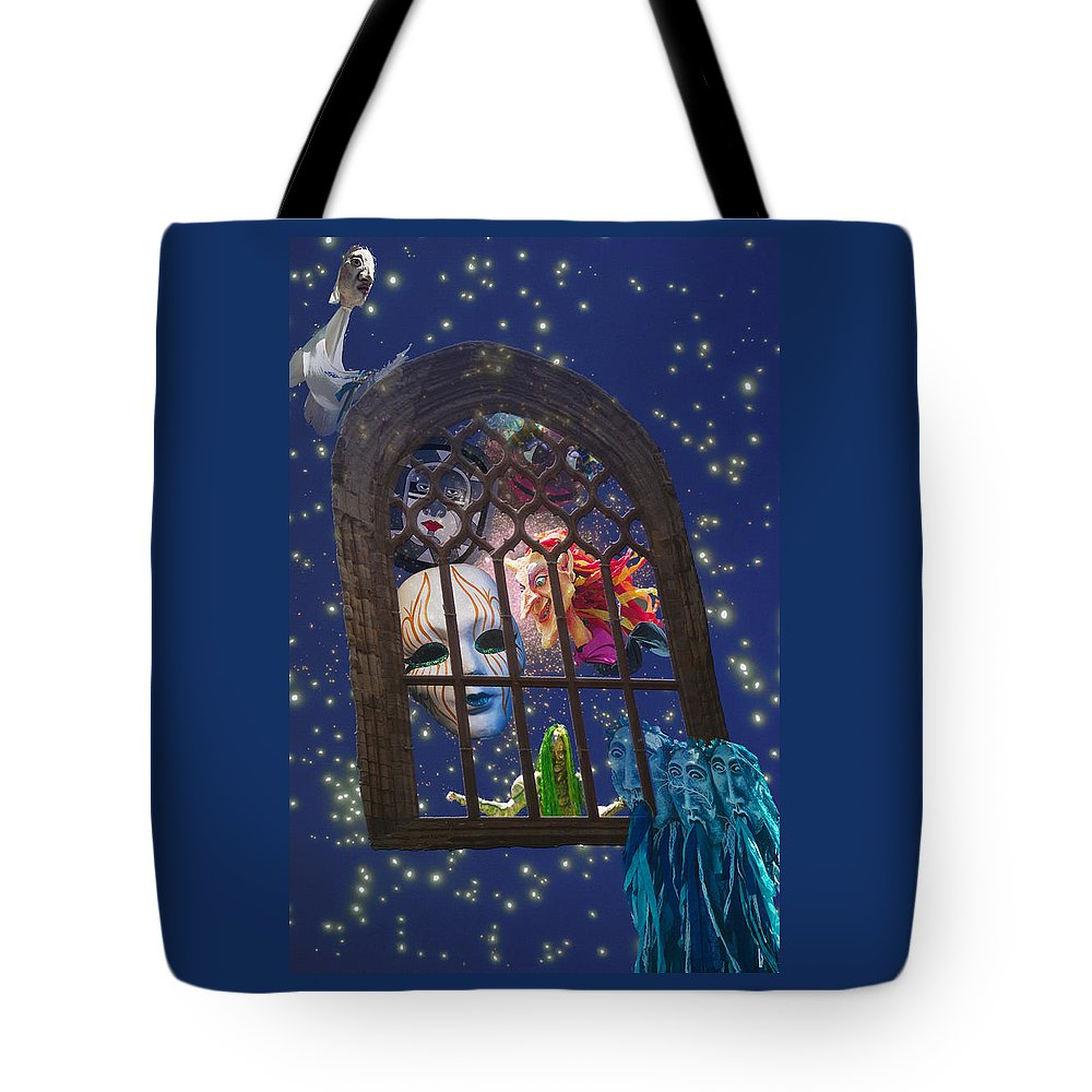 Mask Tote Bag featuring the digital art How Masks Are Born by Lisa Yount