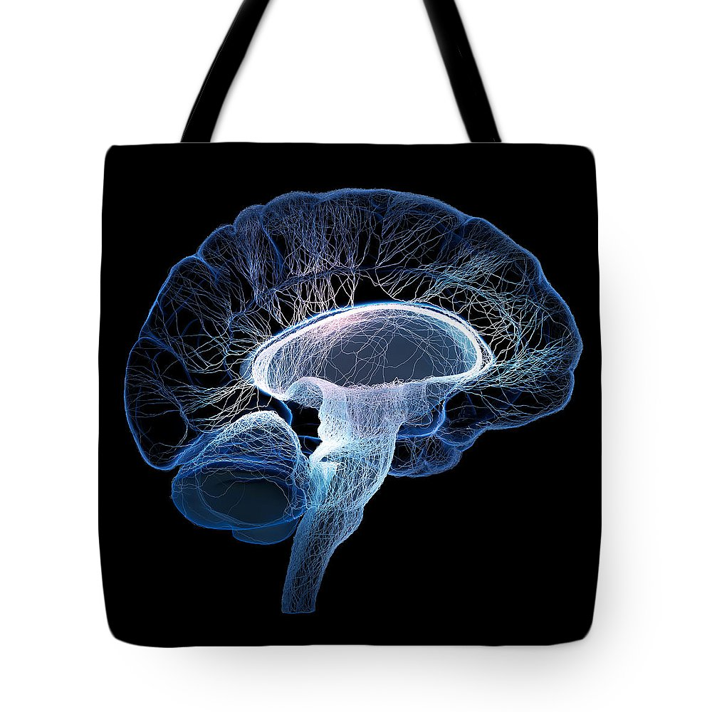 Brain Tote Bag featuring the photograph Human Brain Complexity by Johan Swanepoel