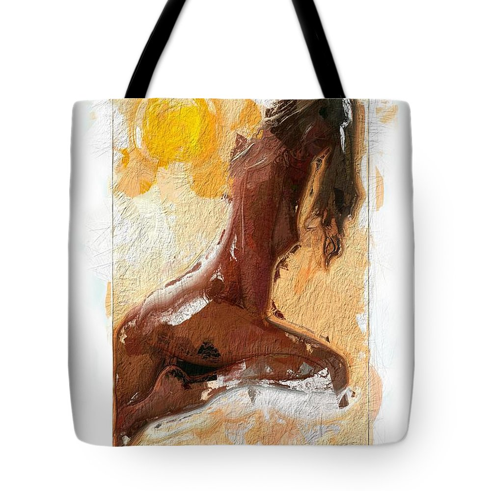 Girl Woman Nude Female Sexy Boobs Tits Curves Figure Sun Sunlight Abstract Portrait Expressionism Impressionism Beauty Erotic Colorful Heat Hot Butt Sensual Tote Bag featuring the painting In The Heat Of The Sun by Steve K
